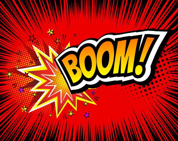 boom. vector retro comic speech bubble, cartoon comics template. mock - lightning stock illustrations