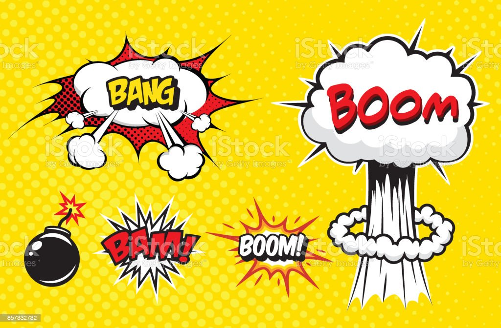Boom. Vector Retro Comic Speech Bubble, Cartoon Comics Template vector art illustration