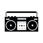 Boombox black simple icon