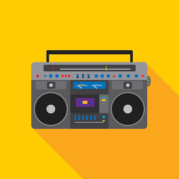Boombox Icon Flat Vector illustration of a yellow boombox icon in flat style. stereo stock illustrations