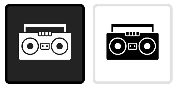 Boombox Icon on  Black Button with White Rollover