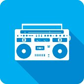 Vector illustration of a blue boombox icon in flat style.