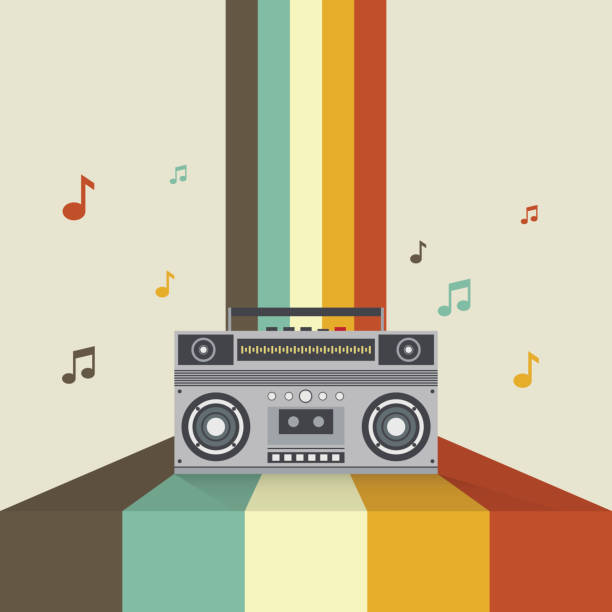 boombox retro vintage style vector illustration - record analog audio stock illustrations