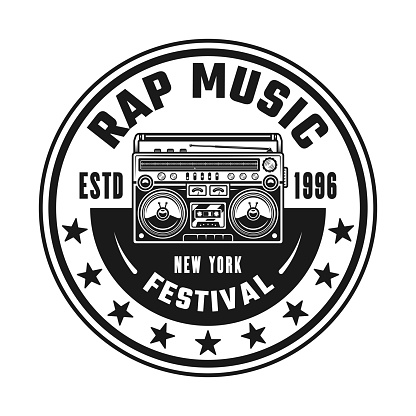 Boombox vector hip-hop music round emblem, badge, label or logo in vintage monochrome style isolated on white background