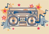Stylised tape recorder with stars & notes, vector artwork