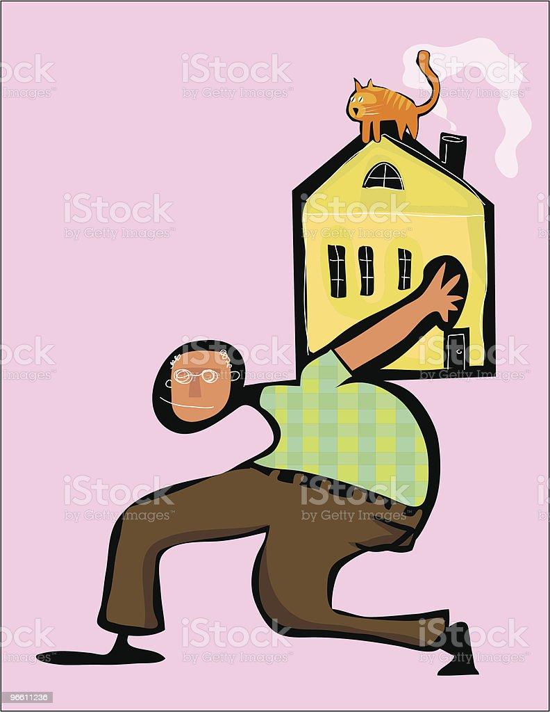 Boomer casa Gato no telhado pagamento da hipoteca - Royalty-free A caminho arte vetorial