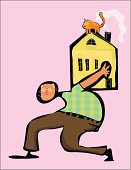 home mortgage. middle age man with load or house on back shoulders. Home with fire place chimney smoke coming out and into the face of a orange cat on roof. atlas type person. pink background. man is in distress with glasses and checkered shirt. stocking feet.