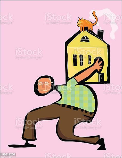 Boomer House Cat On Roof Mortgage Payment-vektorgrafik och fler bilder på Balans