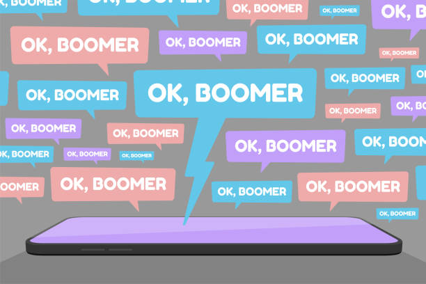 OK Boomer Social Media Spam Flat Vector Illustration Vector illustration of smartphone and multiple OK Boomer chat bubbles represents social media conflict between baby boomers and younger generation Z and millennial, ignited by popular memes. baby boomers stock illustrations