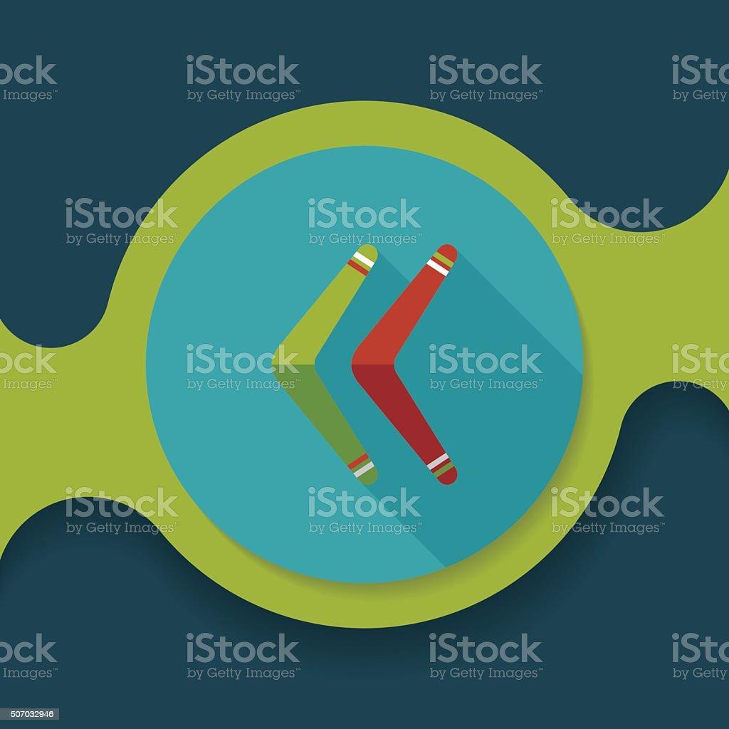 boomerang flat icon with long shadow vector art illustration