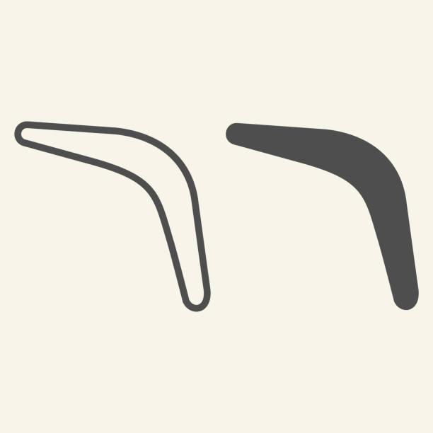 illustrazioni stock, clip art, cartoni animati e icone di tendenza di linea boomerang e icona solida. pittogramma in stile silhouette boomerang volante su sfondo beige. segnali sportivi e ricreativi per il concetto mobile e il web design. grafica vettoriale. - souvenir