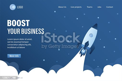 istock Boost your business landing page template. Spaceship takes off into space. Expansion or optimization 1250172861