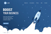 Boost your business landing page template. Spaceship takes off into space. Expansion or optimization of business processes. Startup banner concept. Trendy style vector illustration