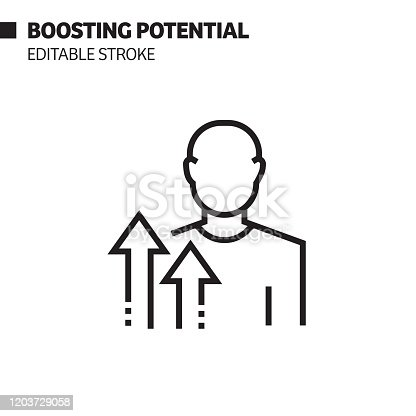 Boosting Potential Line Icon, Outline Vector Symbol Illustration. Pixel Perfect, Editable Stroke.