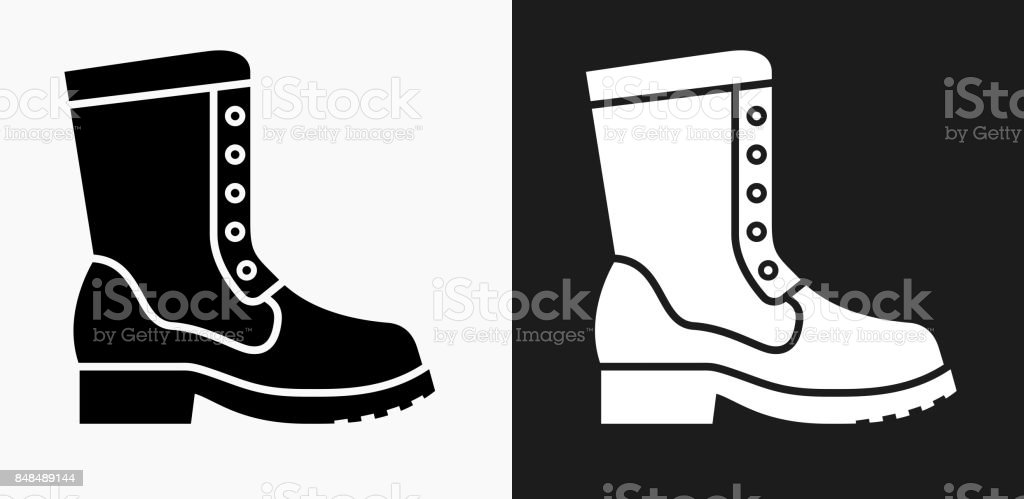 Boot Icon on Black and White Vector Backgrounds vector art illustration