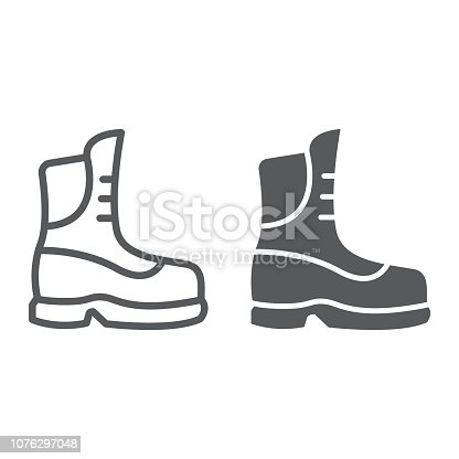 Boot line and glyph icon, clothing and footwear, shoe sign, vector graphics, a linear pattern on a white background, eps 10.
