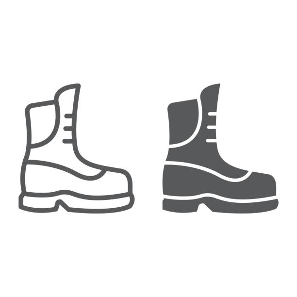 boot line and glyph icon, clothing and footwear, shoe sign, vector graphics, a linear pattern on a white background. - boot stock illustrations