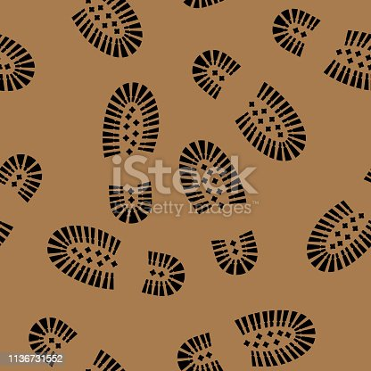Vector illustration of black boot foot prints in a repeating pattern against a brown background.