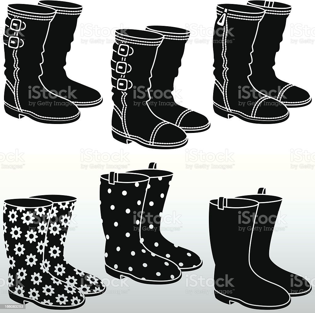 Boots and Wellingtons black&white vector art illustration
