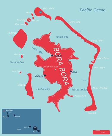 Bora Bora islands detailed editable map