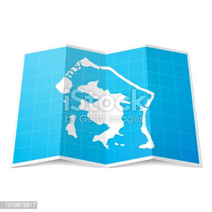 Map of Bora Bora folded and isolated on blank background. The map is squared with a blue background and the territory in white. Vector Illustration (EPS10, well layered and grouped). Easy to edit, manipulate, resize or colorize. Vector and Jpeg file of different sizes.