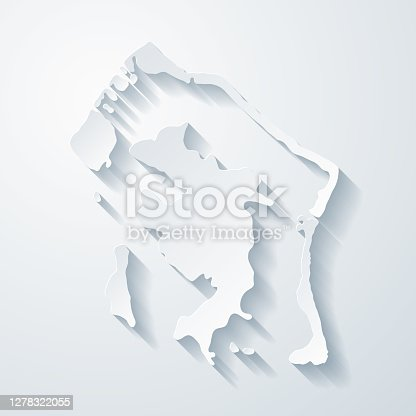 Map of Bora Bora with a realistic paper cut effect isolated on white background. Vector Illustration (EPS10, well layered and grouped). Easy to edit, manipulate, resize or colorize.