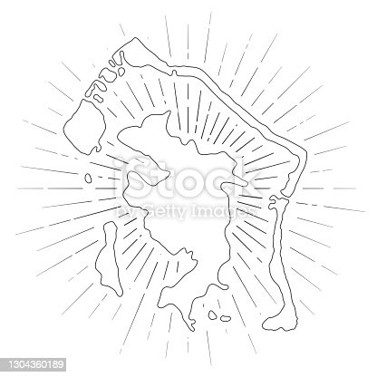 Map of Bora Bora created with a thin black outline and  light rays. Trendy and modern illustraion isolated on a blank background. Vector Illustration (EPS10, well layered and grouped). Easy to edit, manipulate, resize or colorize.