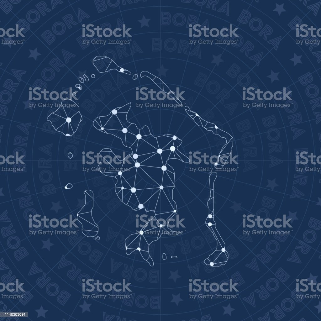 Bora Bora Network Constellation Style Island Map Stock