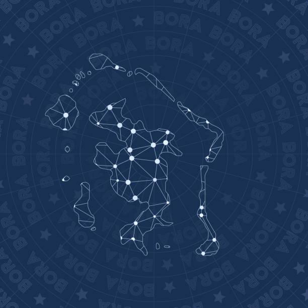 Bora Bora Network Constellation Style Island Map Stock