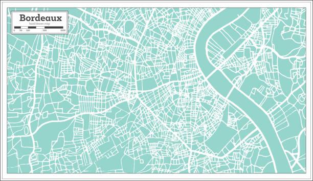 Carte de ville de France de Bordeaux dans un Style rétro. Carte muette. - Illustration vectorielle