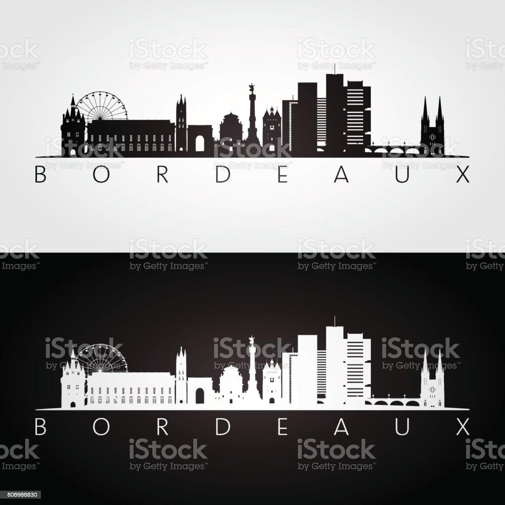 Bordeaux ligne d'horizon et points de repère silhouette, noir et blanc design, illustration vectorielle. - Illustration vectorielle