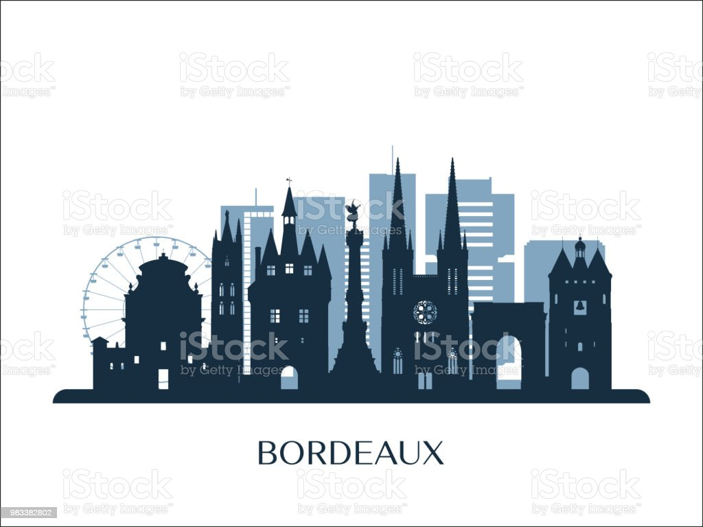 Horizon Bordeaux, silhouette monochrome. Illustration vectorielle. - Illustration vectorielle