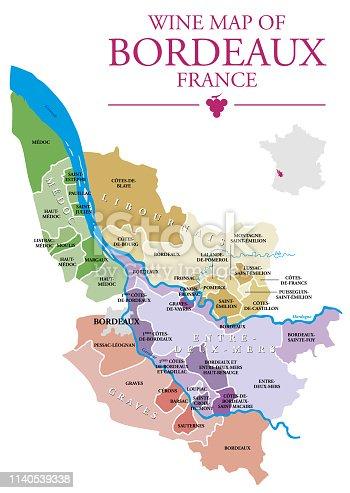 Map of Bordeaux wine vineyard