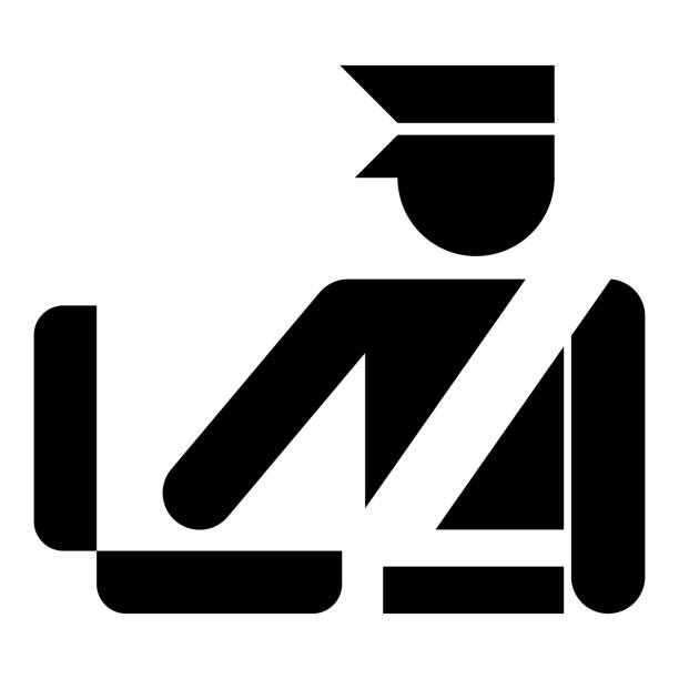 Border control concept Customs officer check baggage Detailed luggage control Baggage control sign icon black color vector illustration flat style image Border control concept Customs officer check baggage Detailed luggage control Baggage control sign icon black color vector illustration flat style simple image customs official stock illustrations