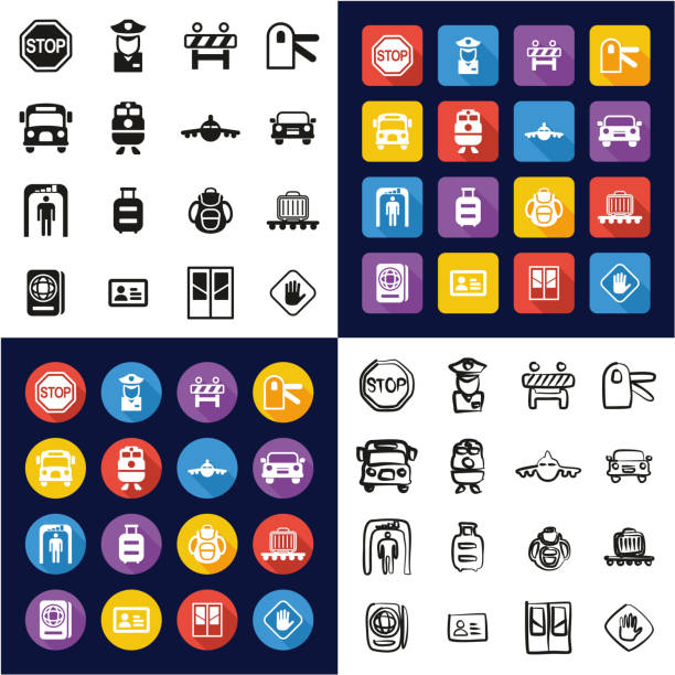 Border Crossing Icons All in One Icons Black & White Color Flat Design Freehand Set This image is a vector illustration and can be scaled to any size without loss of resolution. airport borders stock illustrations