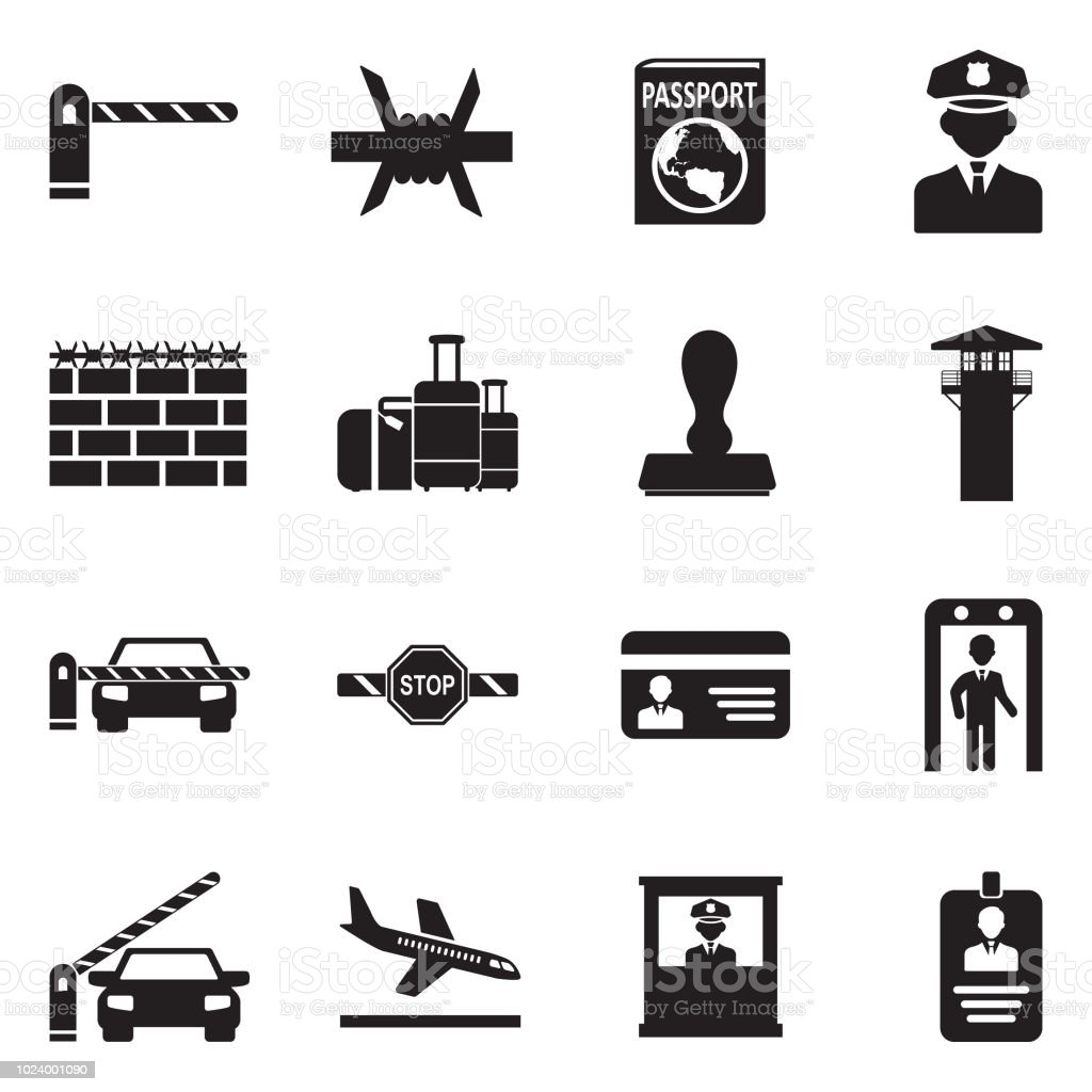 Border Crossing Icons. Black Flat Design. Vector Illustration. vector art illustration