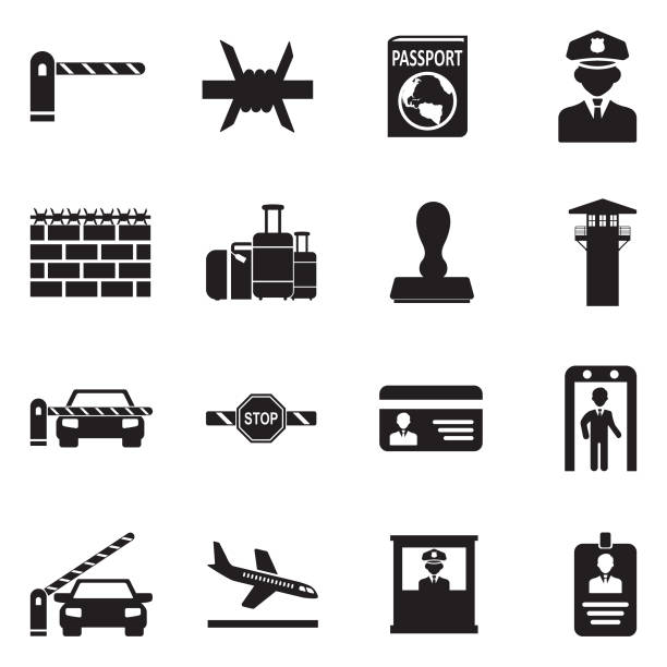 Border Crossing Icons. Black Flat Design. Vector Illustration. Border, Wall, Crossing, Security geographical border stock illustrations