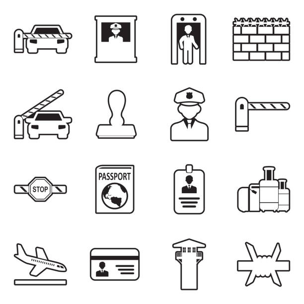 Border Crossing Icons. Line With Fill Design. Vector Illustration. Border, Wall, Crossing, Security airport borders stock illustrations