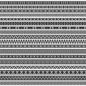 Border decoration elements patterns in black and white colors. Vector illustrations.
