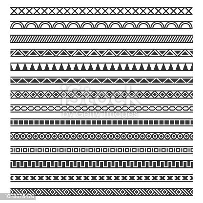 Border Decoration Seamless Patterns Set on White Background. Vector illustration