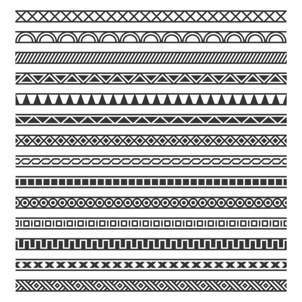 sınır dekorasyon dikişsiz desen beyaz arka plan üzerinde ayarlayın. vektör - afrika stock illustrations