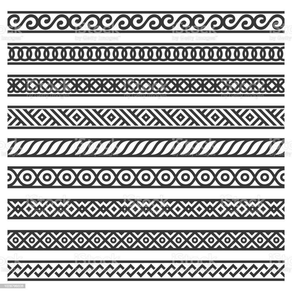 Gränsen dekoration sömlösa mönster in på vit bakgrund. Vektor vektorkonstillustration