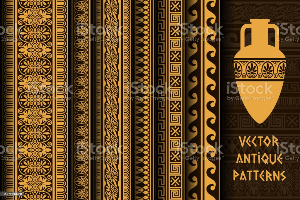 Border decoration set. antique ethnic seamless patterns vector art illustration