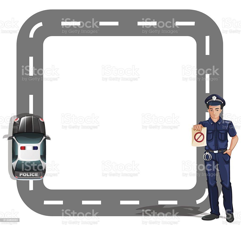 Border design with a policeman and a patrol car vector art illustration