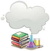 Border design with books and science equipment