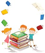 Border design with children and books