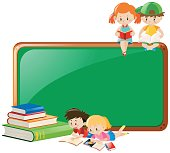 Border design with children reading books