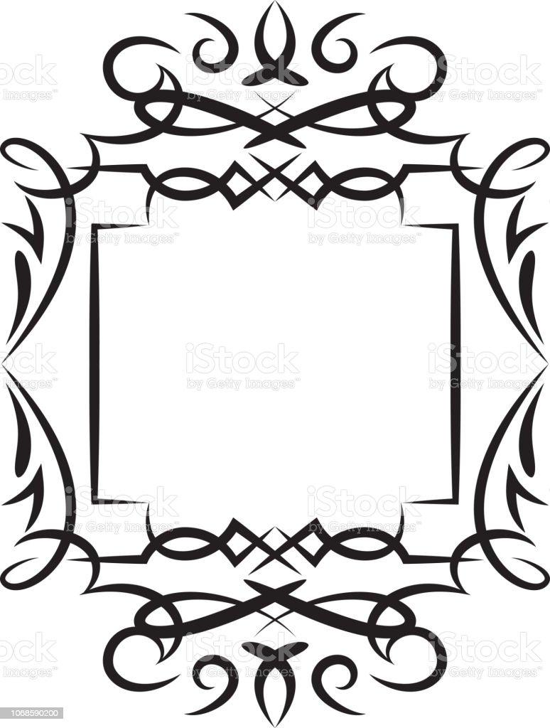Vector illustration of a black and white ornate styled frame.