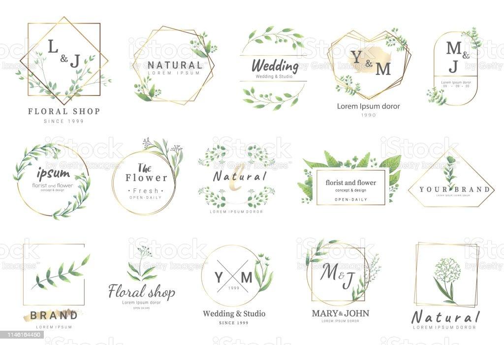 fleur de bordure pour mariage, bannière, badge, impression, produit, paquet. Vector illustration - clipart vectoriel de Badge libre de droits