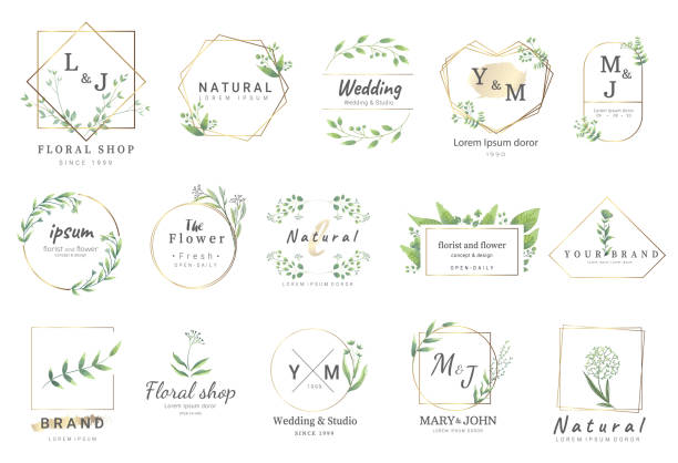 ilustrações, clipart, desenhos animados e ícones de flor da beira para o casamento, bandeira, emblema, imprimindo, produto, ilustração de package. vector - casamento